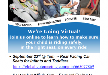 Virtual Car Seat Information Sessions Sept. 23 & 24, 2020